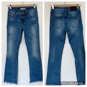 Tory Burch Frayed Hem Flare Crop Jeans 28